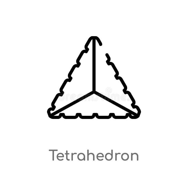 icona di vettore del tetraedro del profilo linea semplice nera isolata illustrazione dell'elemento dal concetto della geometria C illustrazione di stock