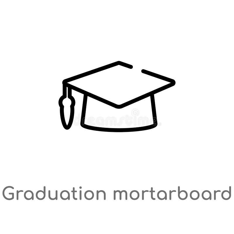 icona di vettore del tocco di graduazione del profilo linea semplice nera isolata illustrazione dell'elemento dal concetto di ist illustrazione vettoriale