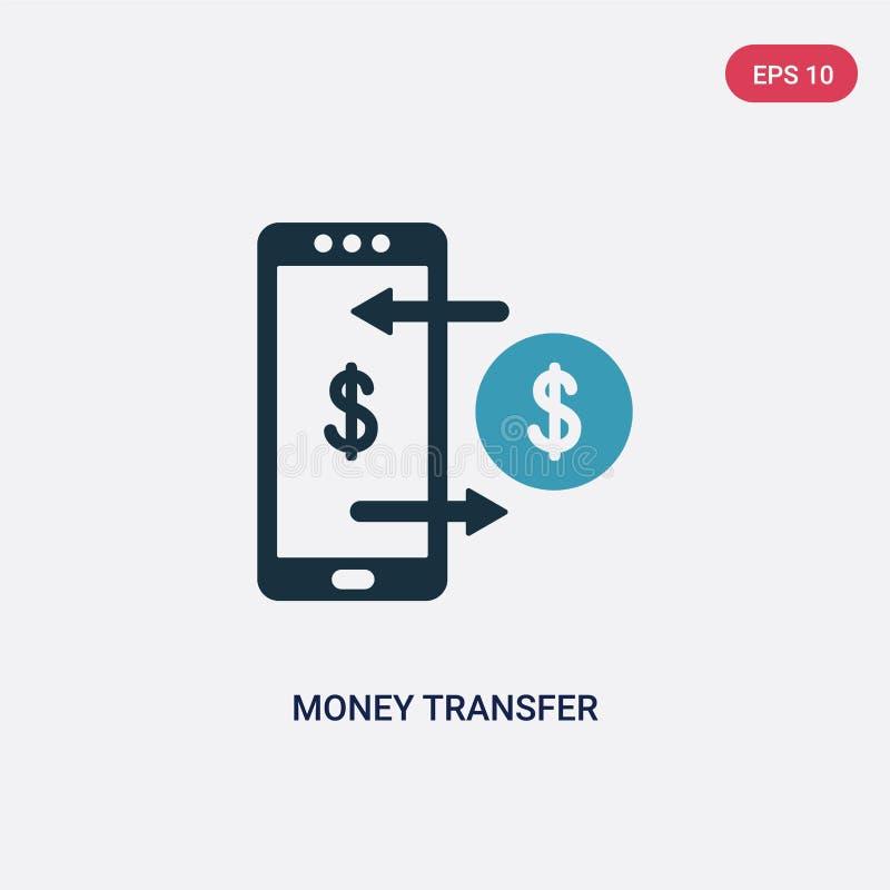 Icona di vettore del trasferimento di denaro di due colori dal concetto di pagamento il simbolo blu isolato del segno di vettore  illustrazione di stock