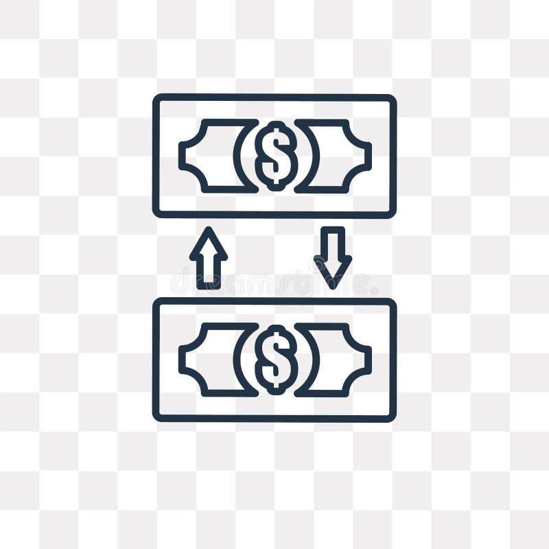 Icona di vettore del trasferimento di denaro isolata su fondo trasparente, l illustrazione di stock
