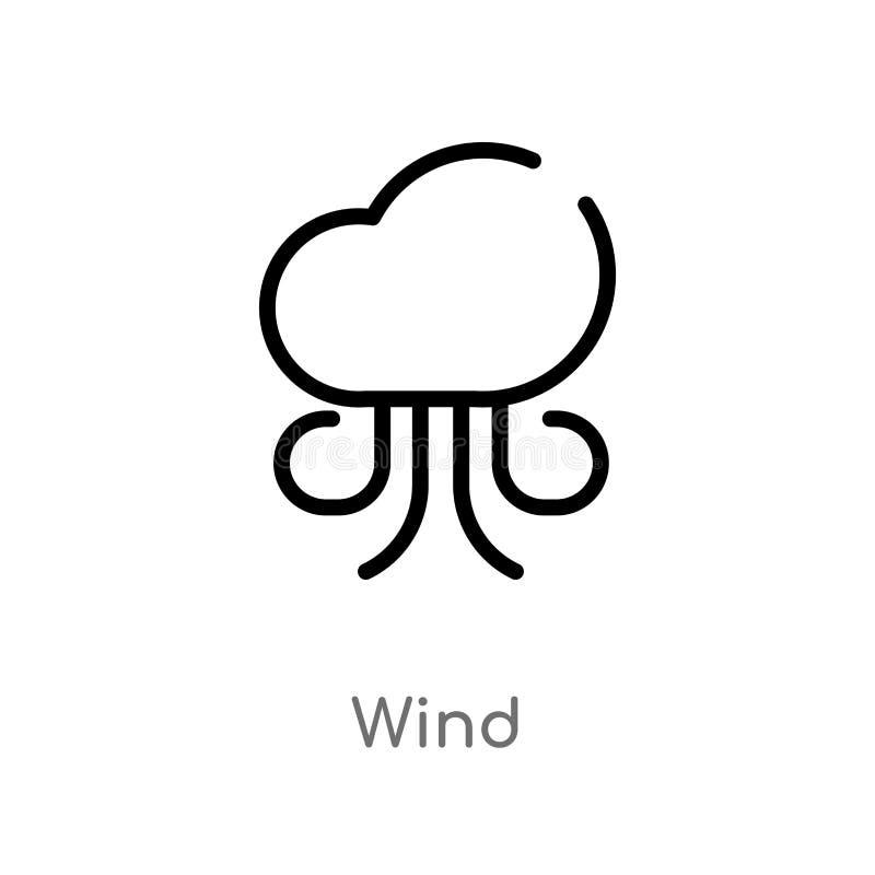 icona di vettore del vento del profilo linea semplice nera isolata illustrazione dell'elemento dal concetto di autunno icona edit illustrazione di stock