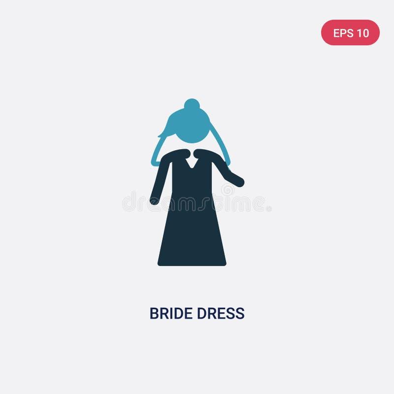 Icona di vettore del vestito dalla sposa di due colori dal concetto della gente il simbolo blu isolato del segno di vettore del v illustrazione di stock