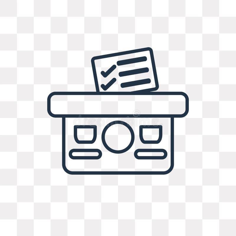 Icona di vettore del voto isolata su fondo trasparente, sedere lineari illustrazione vettoriale