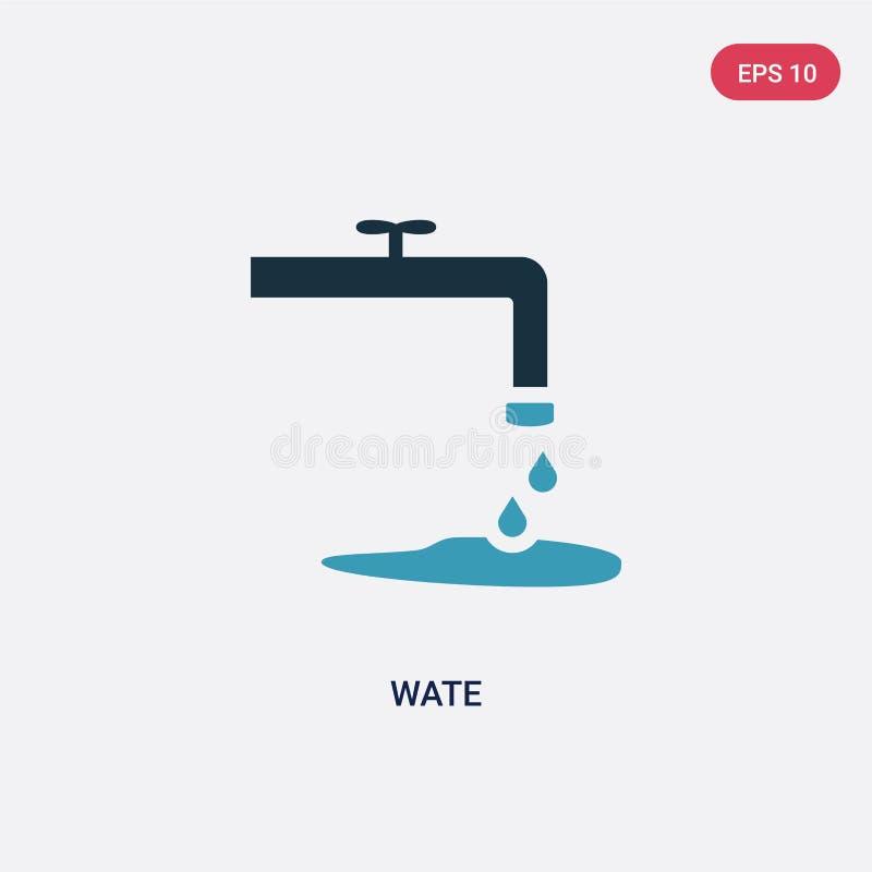 Icona di vettore del wate di due colori dal concetto della natura il simbolo blu isolato del segno di vettore del wate può essere royalty illustrazione gratis