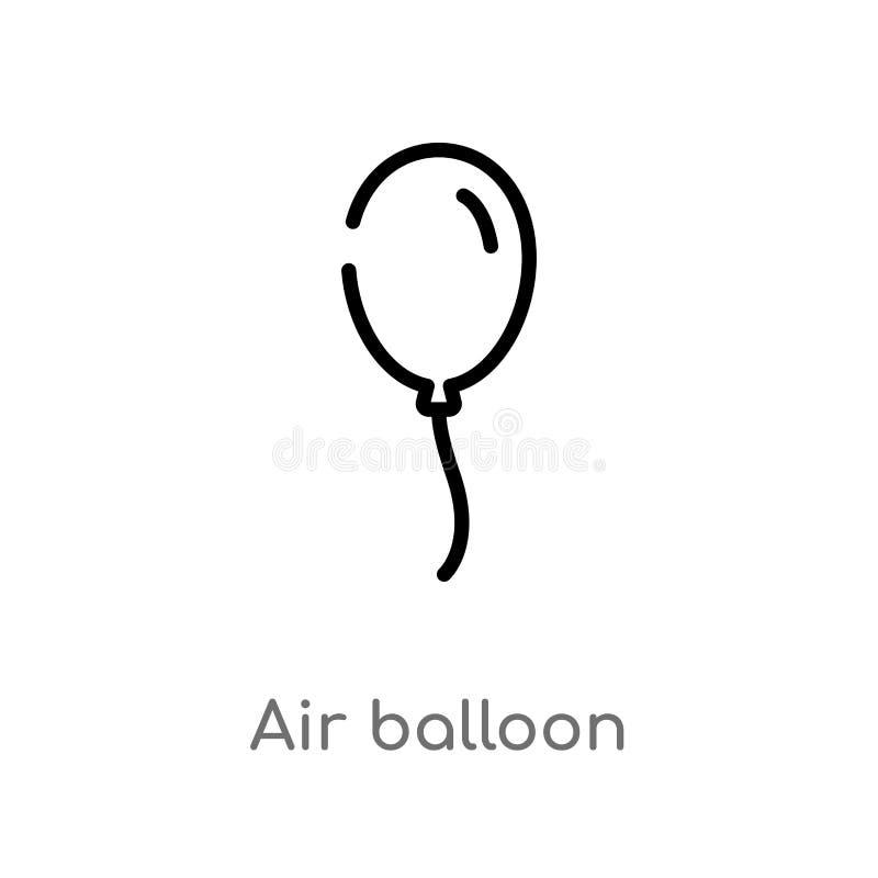 icona di vettore dell'aerostato del profilo linea semplice nera isolata illustrazione dell'elemento dal compleanno e dal concetto illustrazione di stock