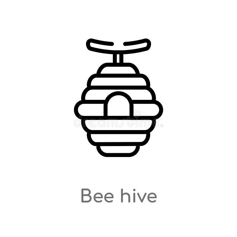 icona di vettore dell'alveare del profilo linea semplice nera isolata illustrazione dell'elemento dal concetto degli animali ape  royalty illustrazione gratis