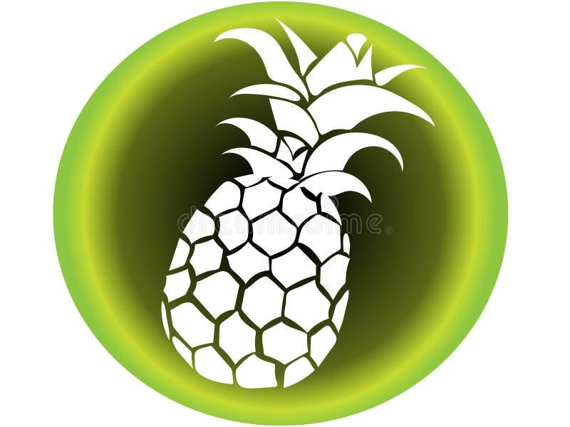 Icona di vettore dell'ananas bianco con fondo in tonalità di tipo verde illustrazione tropicale della vacanza della spiaggia royalty illustrazione gratis