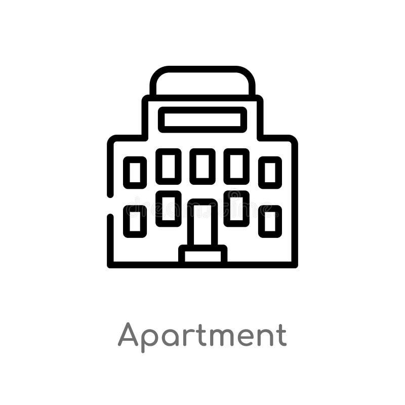 icona di vettore dell'appartamento del profilo linea semplice nera isolata illustrazione dell'elemento dal concetto degli element royalty illustrazione gratis