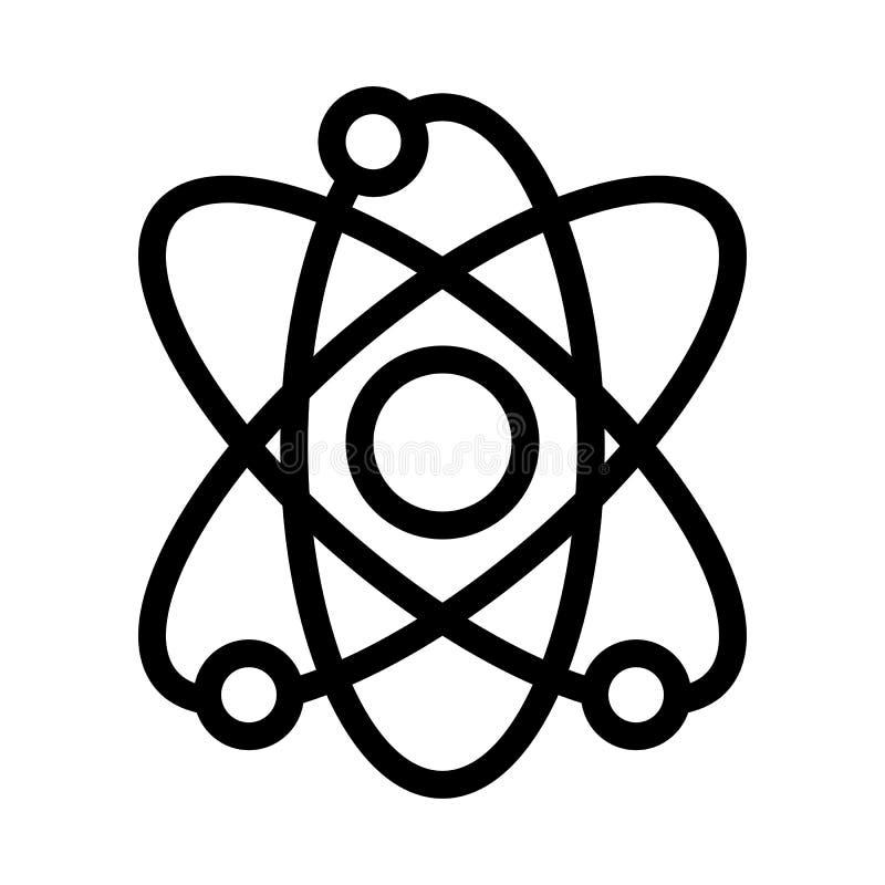 Icona di vettore dell'atomo Illustrazione in bianco e nero di scienza Icona lineare dell'atomo di contorno illustrazione vettoriale
