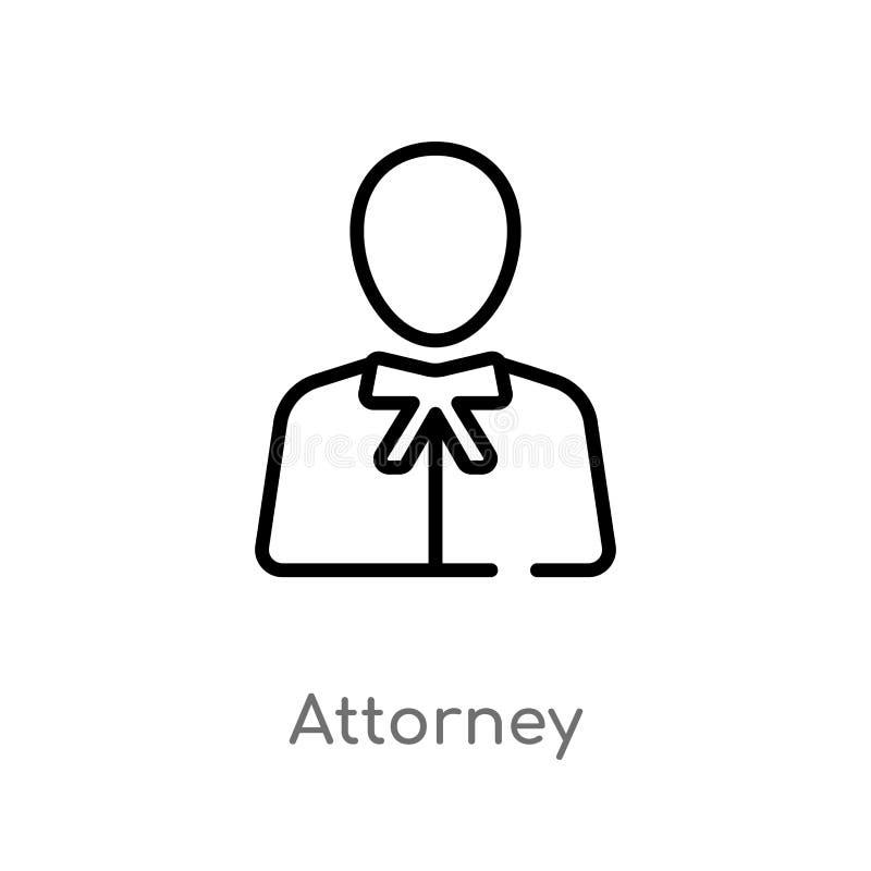 icona di vettore dell'avvocato del profilo linea semplice nera isolata illustrazione dell'elemento dal concetto della giustizia e royalty illustrazione gratis