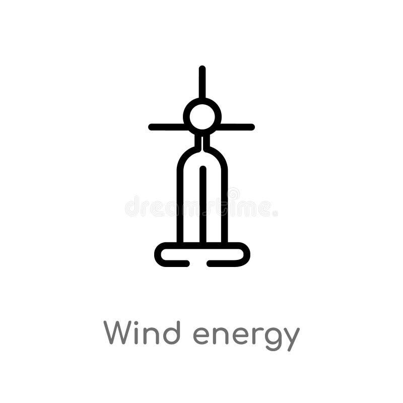 icona di vettore dell'energia eolica del profilo linea semplice nera isolata illustrazione dell'elemento dal concetto di ecologia illustrazione di stock