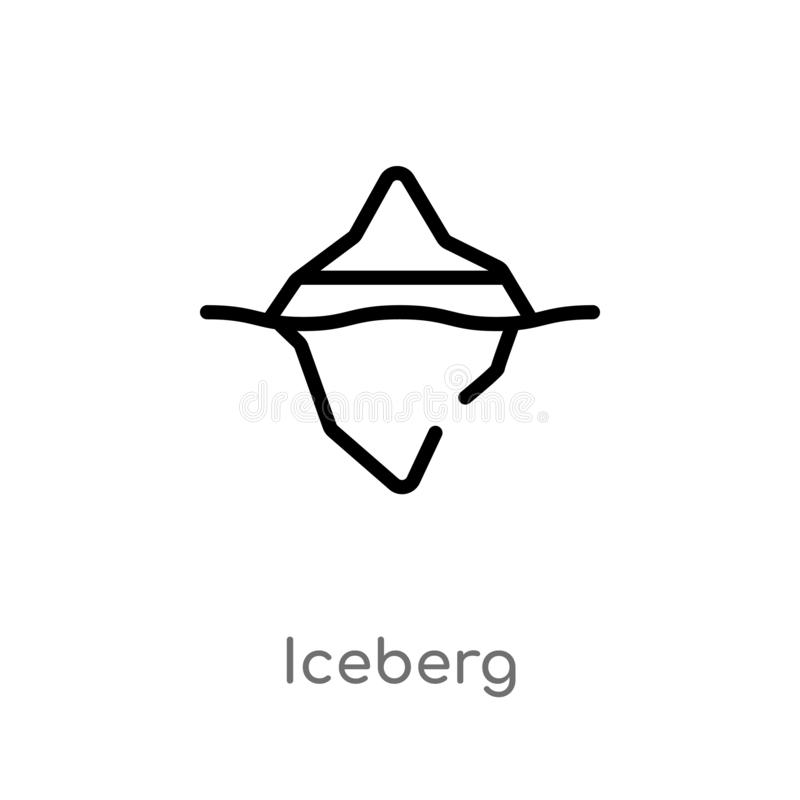 icona di vettore dell'iceberg del profilo linea semplice nera isolata illustrazione dell'elemento dal concetto della natura icebe royalty illustrazione gratis