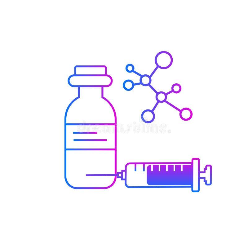 Icona di vettore dell'iniezione, dose della droga illustrazione vettoriale