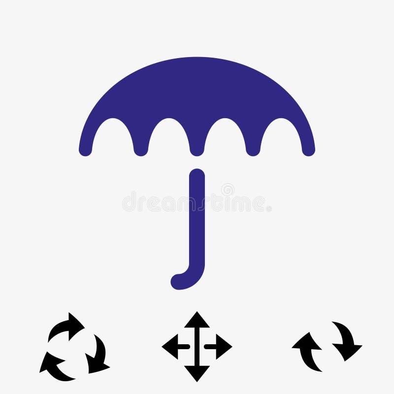 Icona di vettore dell'ombrello Simbolo di protezione di pioggia Stile piano di progettazione illustrazione di stock