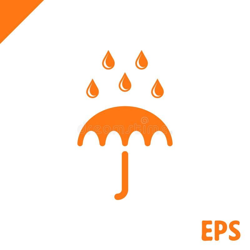 Icona di vettore dell'ombrello Simbolo di protezione di pioggia Stile piano di progettazione royalty illustrazione gratis