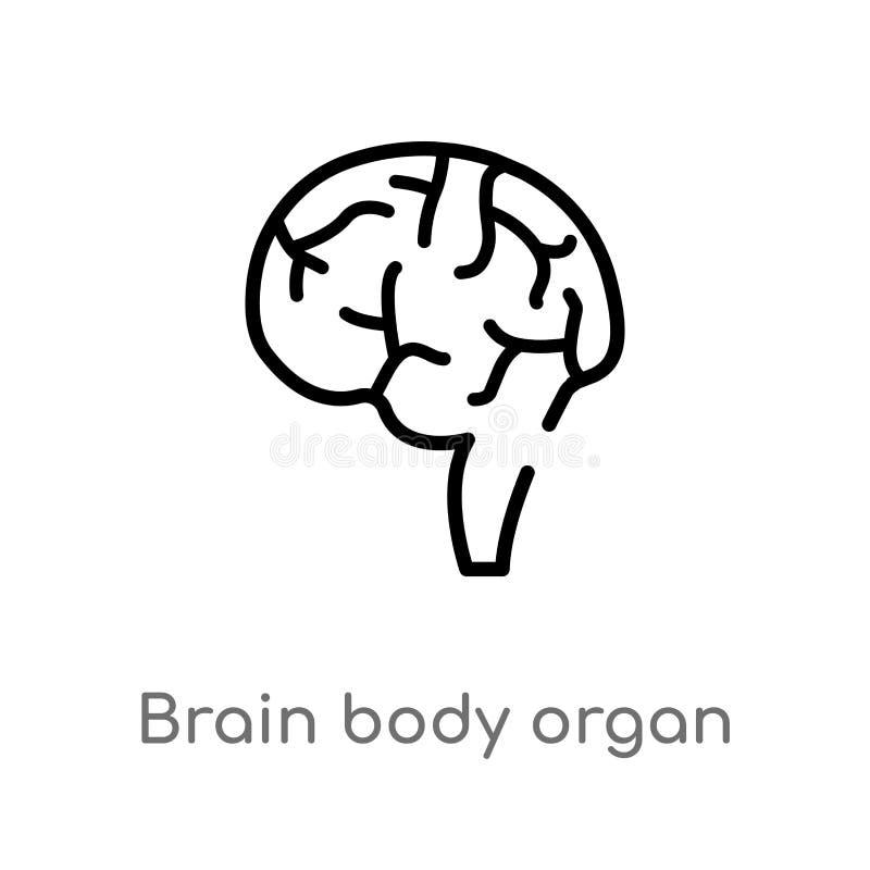 icona di vettore dell'organo del corpo del cervello del profilo linea semplice nera isolata illustrazione dell'elemento dal conce illustrazione vettoriale