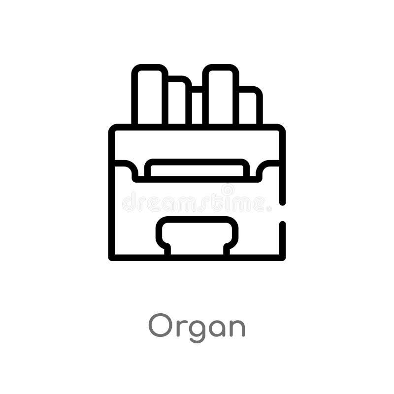 icona di vettore dell'organo del profilo linea semplice nera isolata illustrazione dell'elemento dal concetto di musica icona edi illustrazione vettoriale