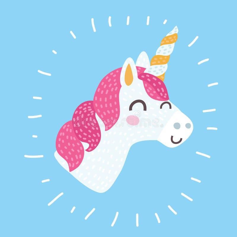 Icona di vettore dell'unicorno isolata su bianco Autoadesivo capo del cavallo del ritratto, distintivo della toppa Animale svegli illustrazione vettoriale
