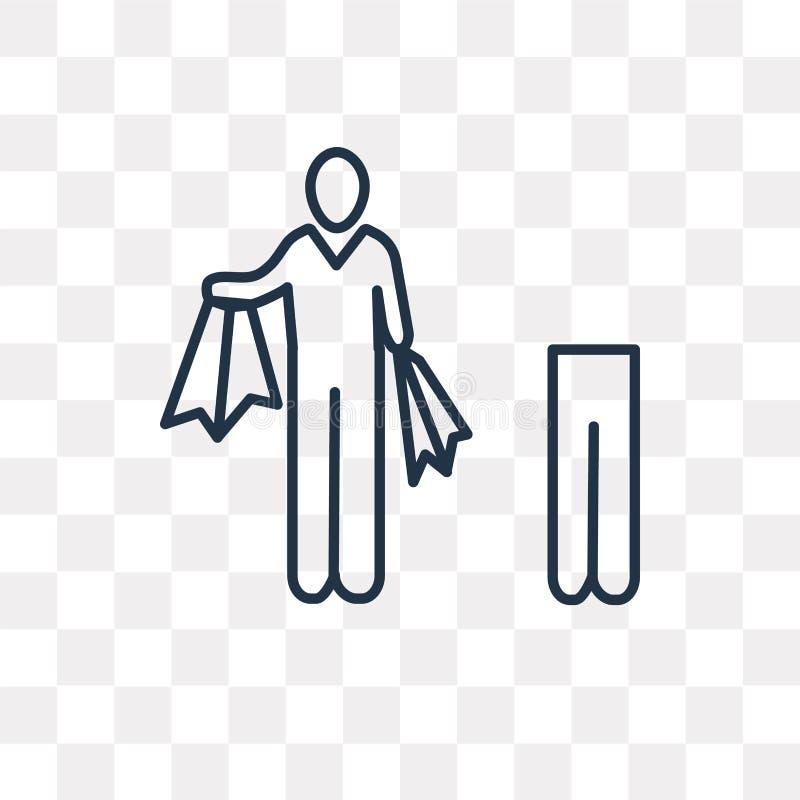 Icona di vettore dell'uomo del cliente isolata su fondo trasparente, linea illustrazione vettoriale