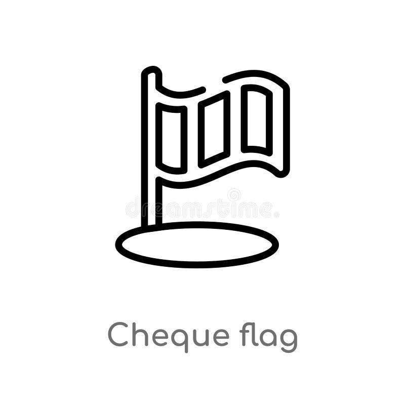 icona di vettore della bandiera dell'assegno del profilo linea semplice nera isolata illustrazione dell'elemento dal concetto di  illustrazione di stock
