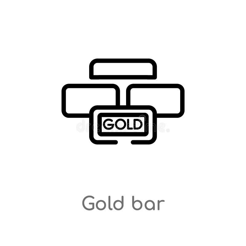 icona di vettore della barra di oro del profilo linea semplice nera isolata illustrazione dell'elemento dal concetto di lusso bar illustrazione di stock