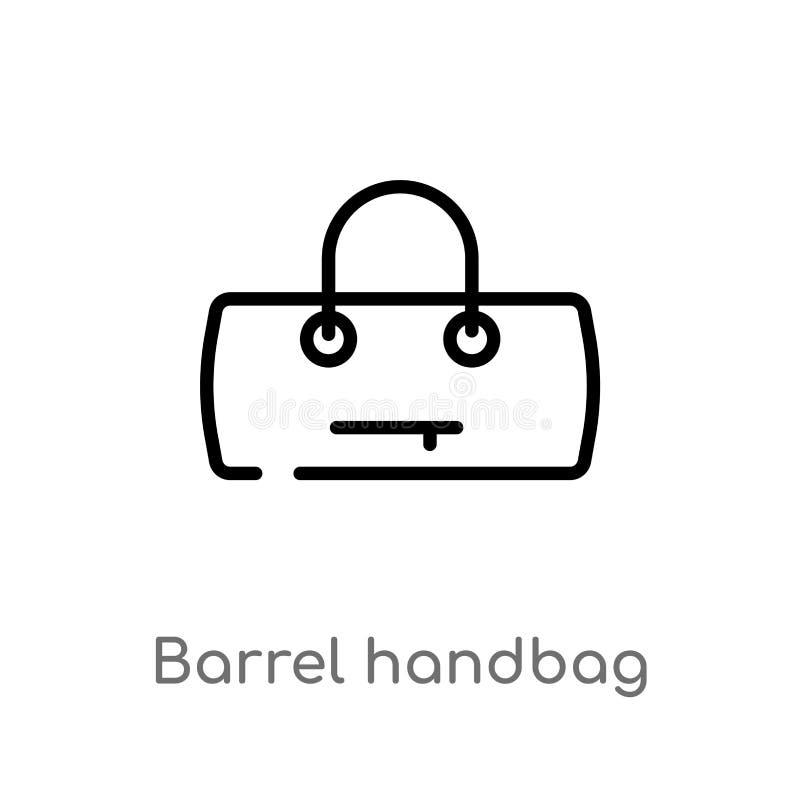 icona di vettore della borsa del barilotto del profilo linea semplice nera isolata illustrazione dell'elemento dal concetto dei v illustrazione di stock