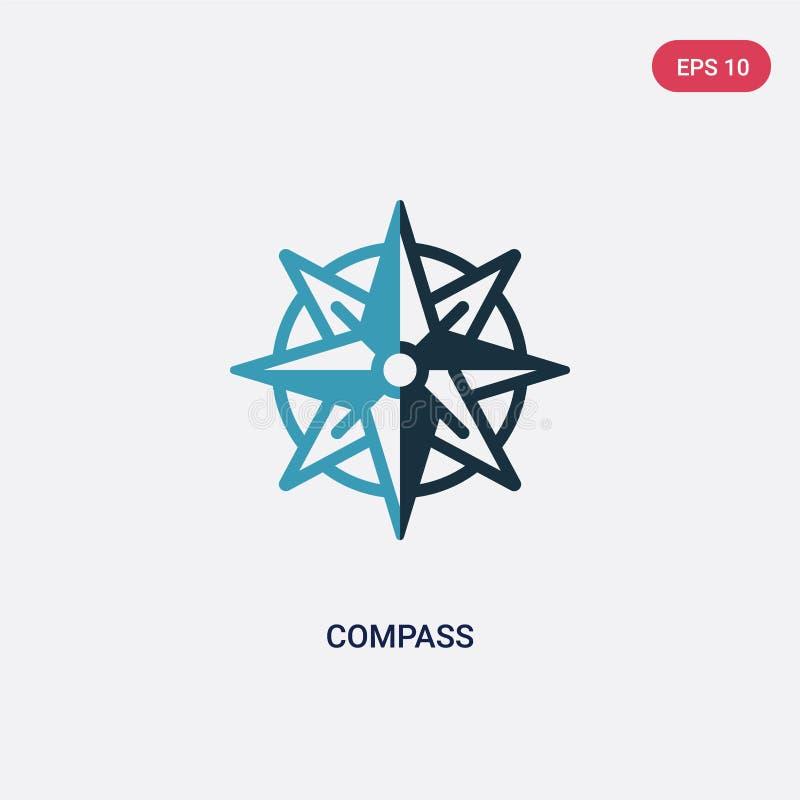 Icona di vettore della bussola di due colori dal concetto nautico il simbolo blu isolato del segno di vettore della bussola può e royalty illustrazione gratis