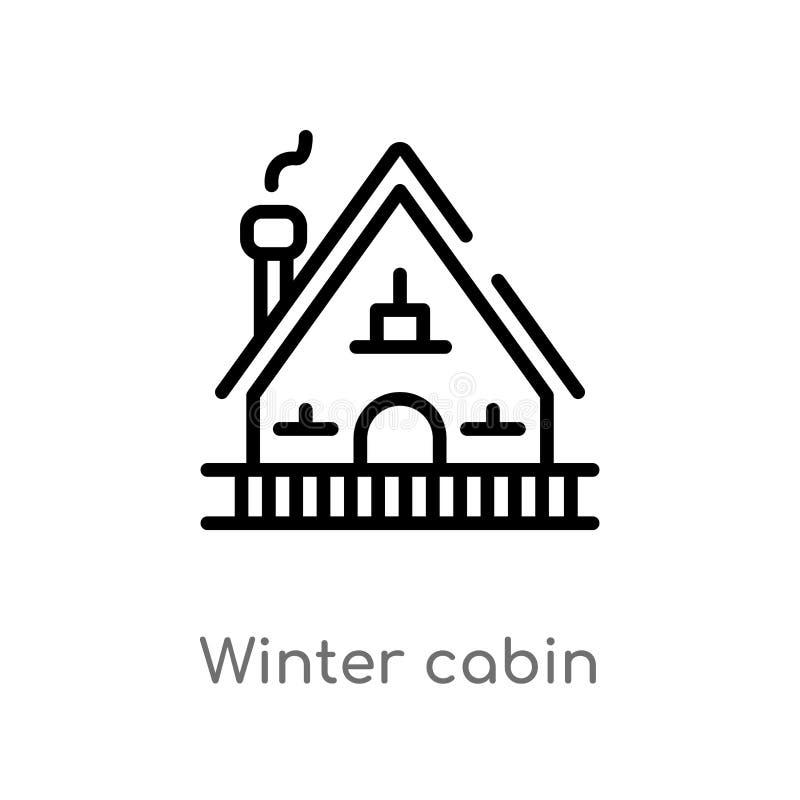 icona di vettore della cabina di inverno del profilo linea semplice nera isolata illustrazione dell'elemento dal concetto di inve royalty illustrazione gratis