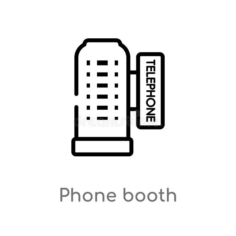 icona di vettore della cabina telefonica del profilo linea semplice nera isolata illustrazione dell'elemento dal concetto degli e illustrazione vettoriale