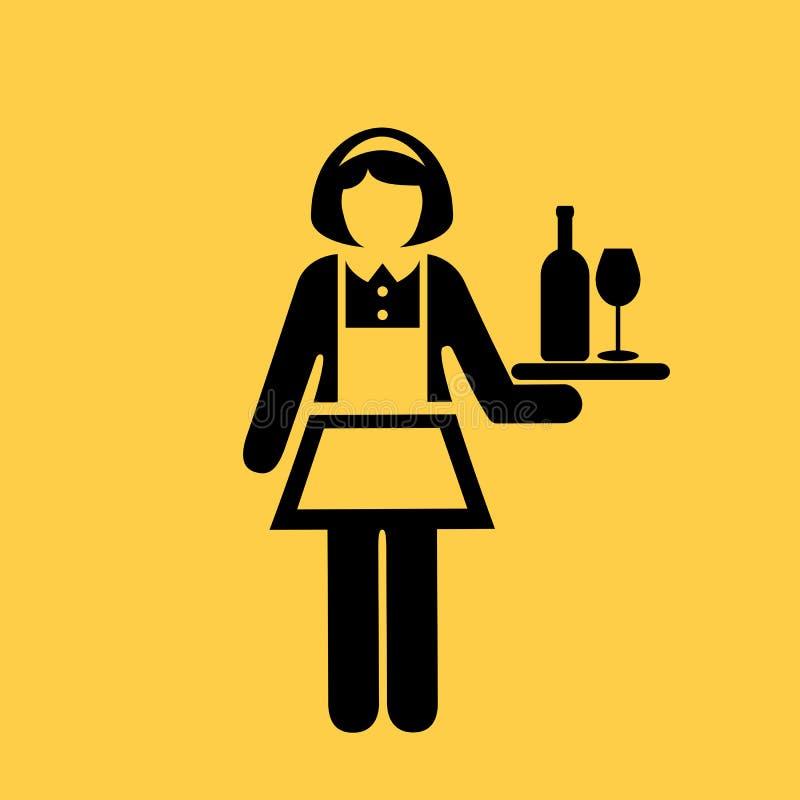 Icona di vettore della cameriera di bar royalty illustrazione gratis