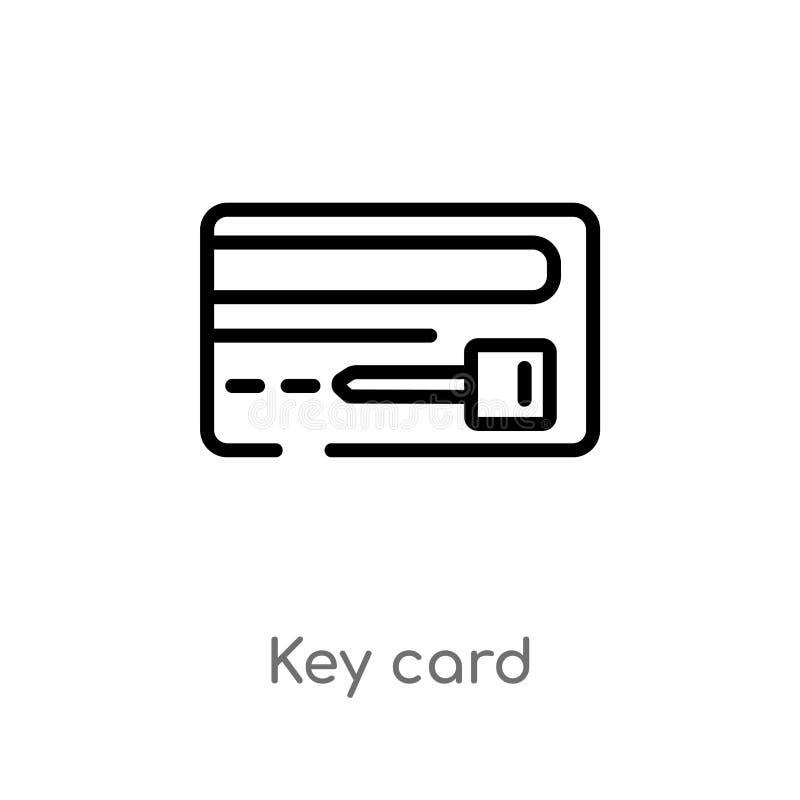 icona di vettore della carta chiave del profilo linea semplice nera isolata illustrazione dell'elemento dal concetto dell'hotel c illustrazione vettoriale