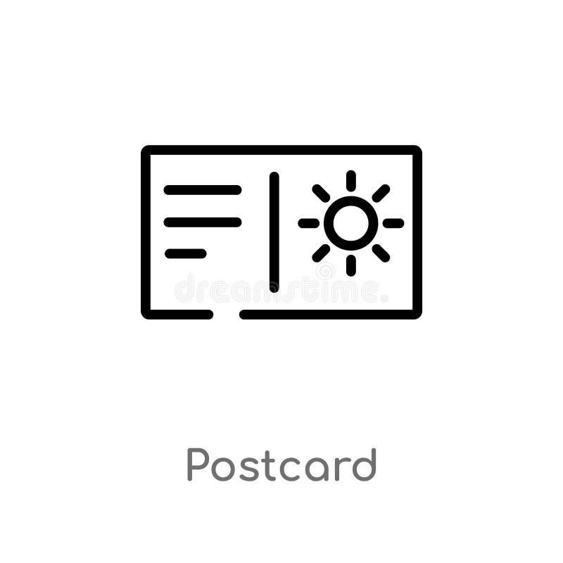icona di vettore della cartolina del profilo linea semplice nera isolata illustrazione dell'elemento dal concetto di estate carto illustrazione vettoriale