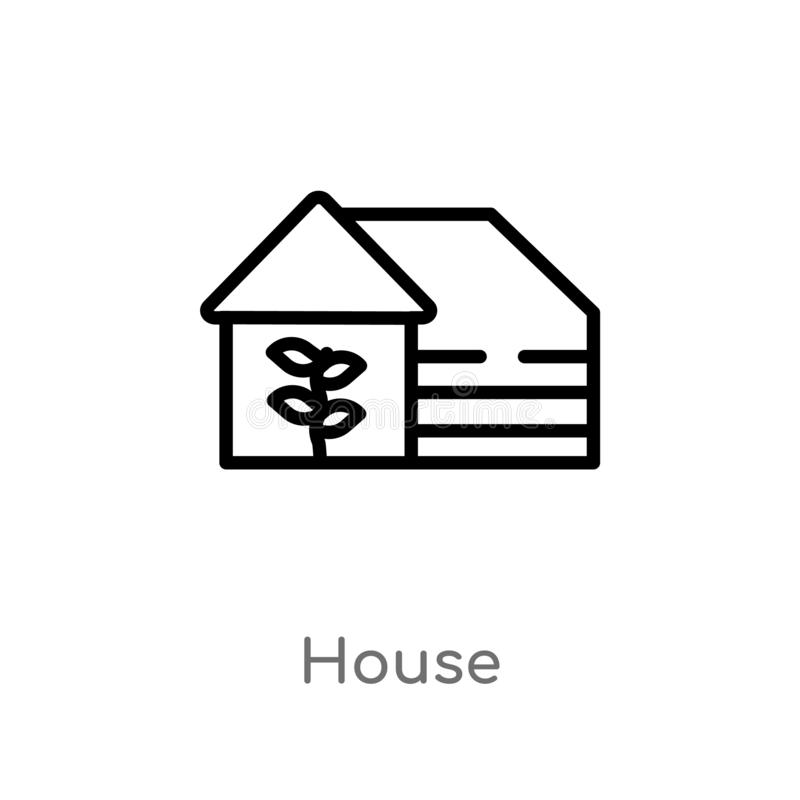 icona di vettore della casa del profilo linea semplice nera isolata illustrazione dell'elemento dal concetto d'agricoltura e di g illustrazione vettoriale