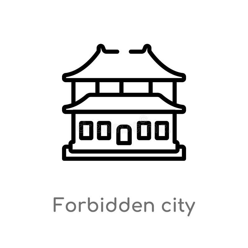 icona di vettore della Città proibita del profilo linea semplice nera isolata illustrazione dell'elemento dal concetto asiatico C illustrazione vettoriale