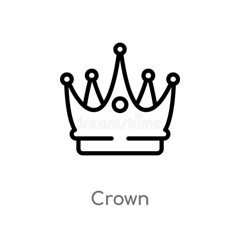 Icona di vettore della corona del profilo linea semplice nera isolata illustrazione dell'elemento dal concetto di lusso icona edi illustrazione di stock