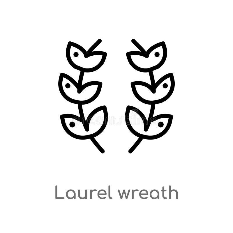 icona di vettore della corona dell'alloro del profilo linea semplice nera isolata illustrazione dell'elemento dal concetto di ist illustrazione di stock