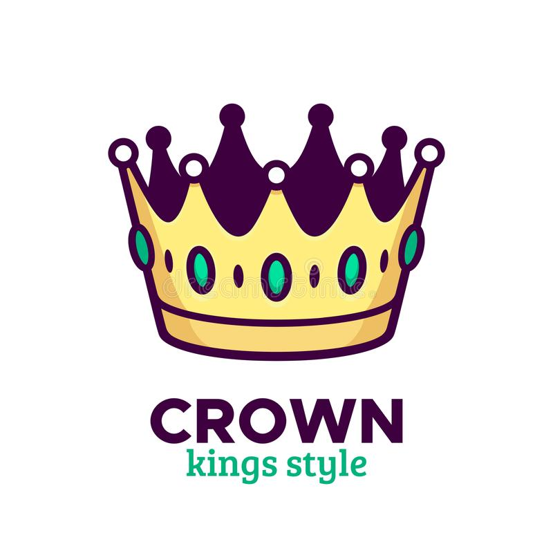 Icona di vettore della corona o progettazione dorata di logo illustrazione vettoriale