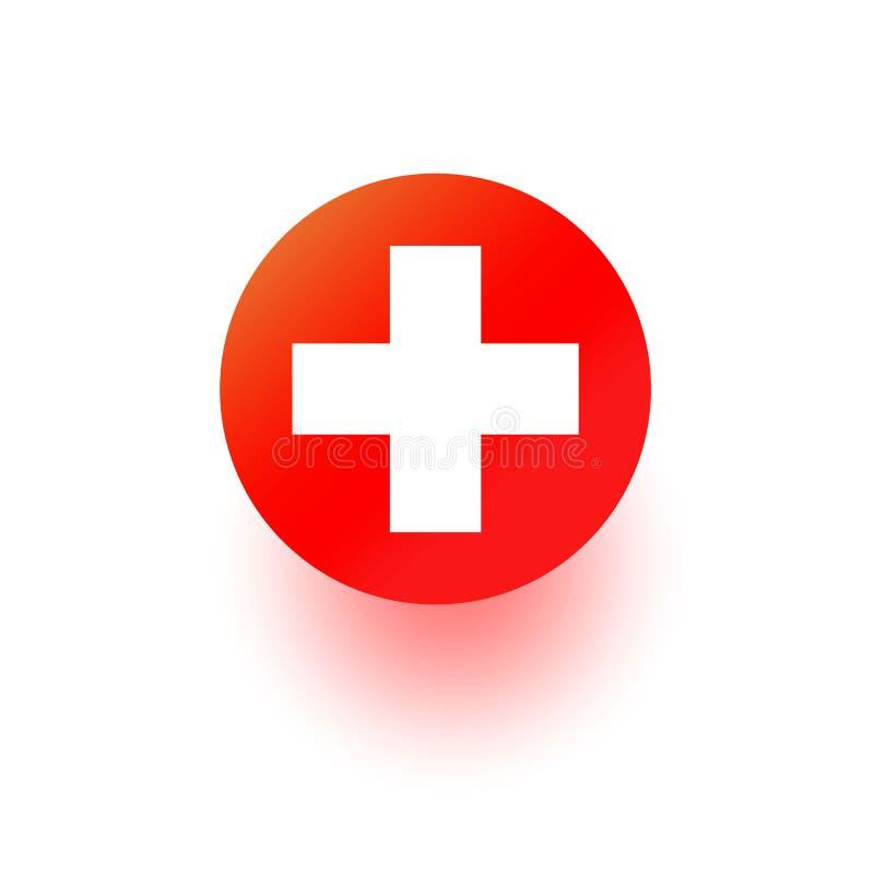 Icona di vettore della croce rossa, segno dell'ospedale Simbolo medico del pronto soccorso di salute isolato su vhite Progettazio fotografie stock