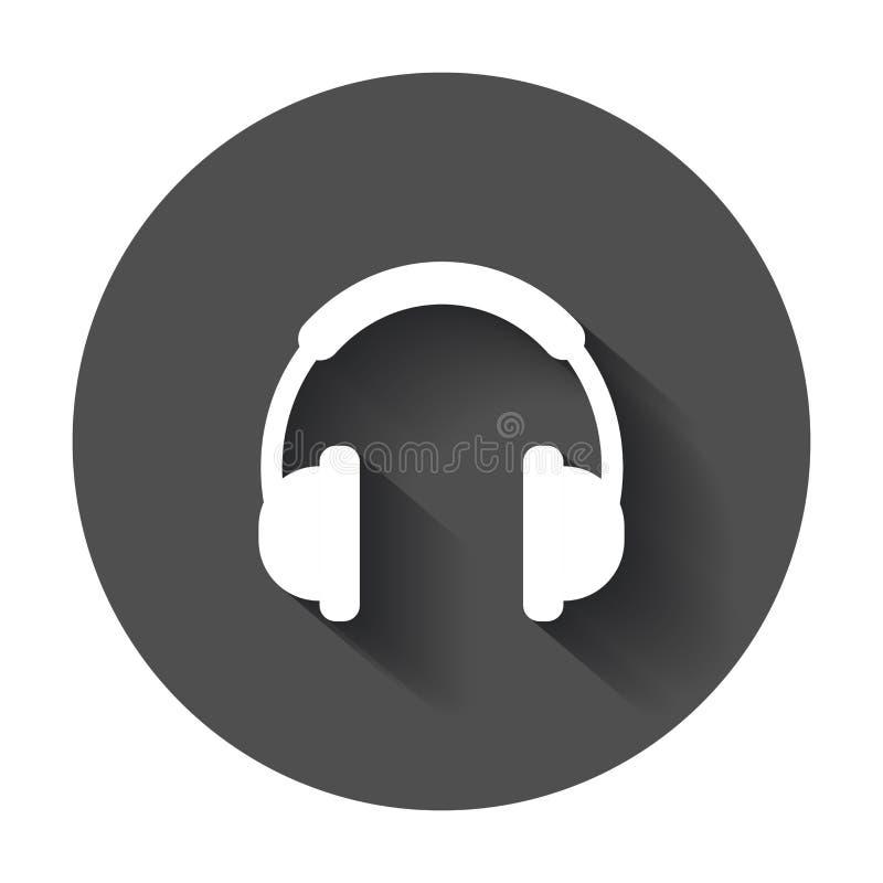 Icona di vettore della cuffia Illustrazione del segno della cuffia avricolare del trasduttore auricolare sul bla illustrazione di stock