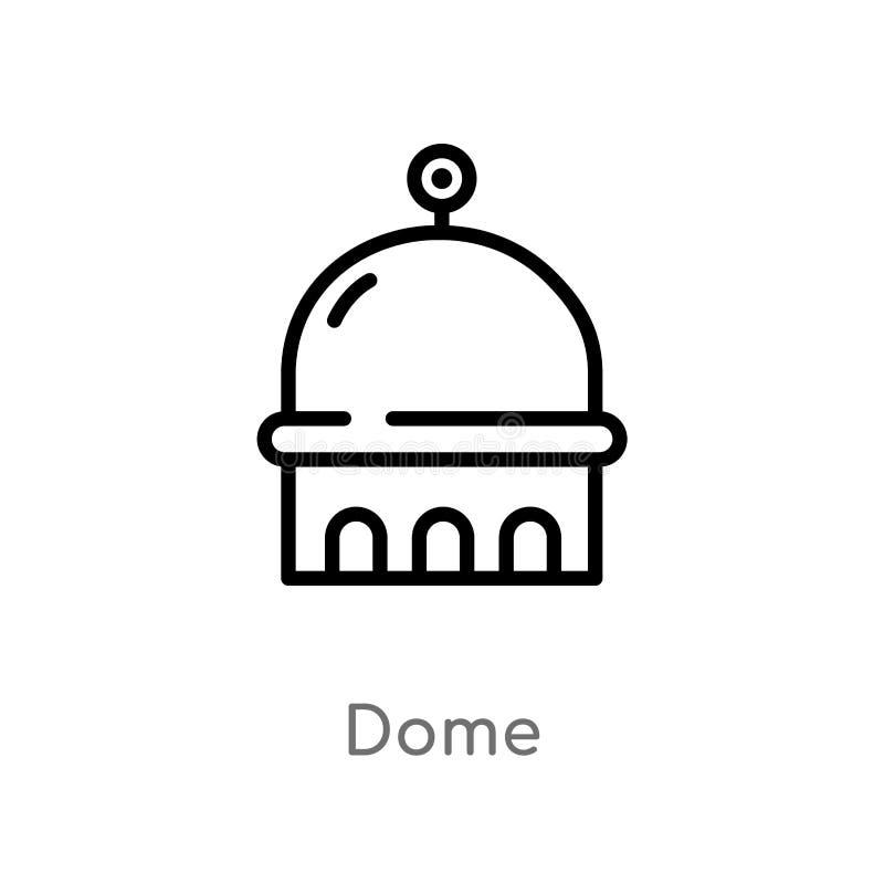 icona di vettore della cupola del profilo linea semplice nera isolata illustrazione dell'elemento dal concetto delle costruzioni  illustrazione di stock