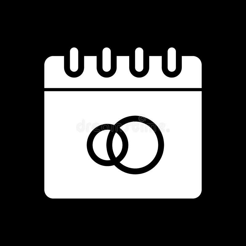 Icona di vettore della data di nozze Icona degli amanti Icona dell'elemento di nozze illustrazione di stock