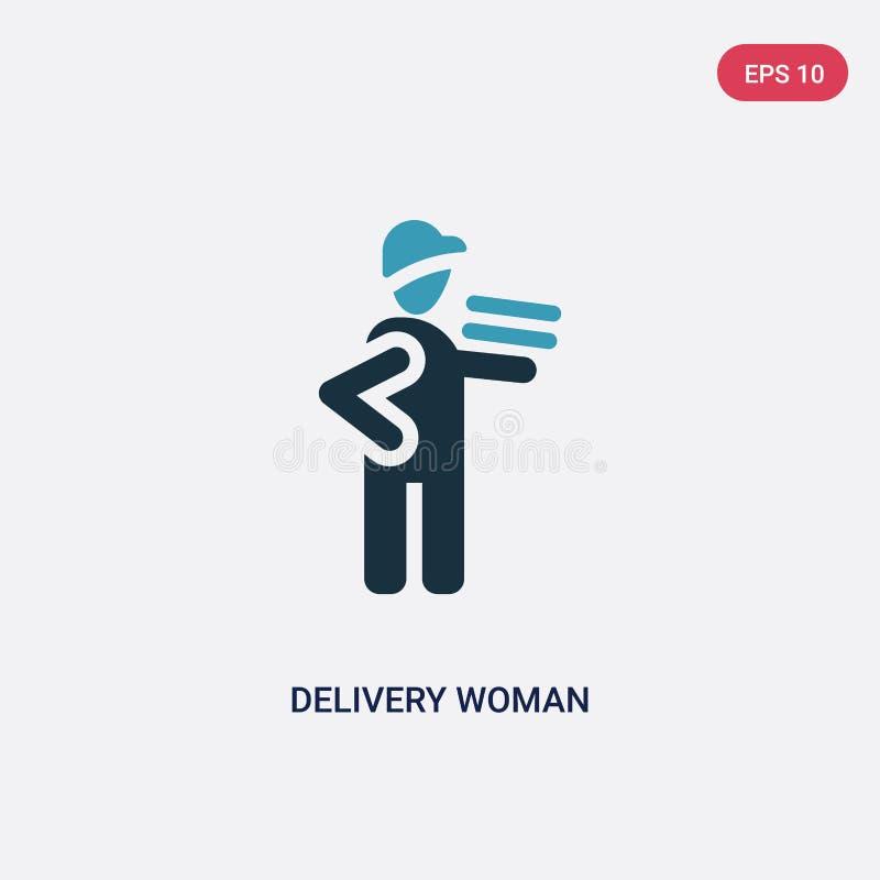 Icona di vettore della donna di consegna di due colori dal concetto della gente il simbolo blu isolato del segno di vettore della royalty illustrazione gratis