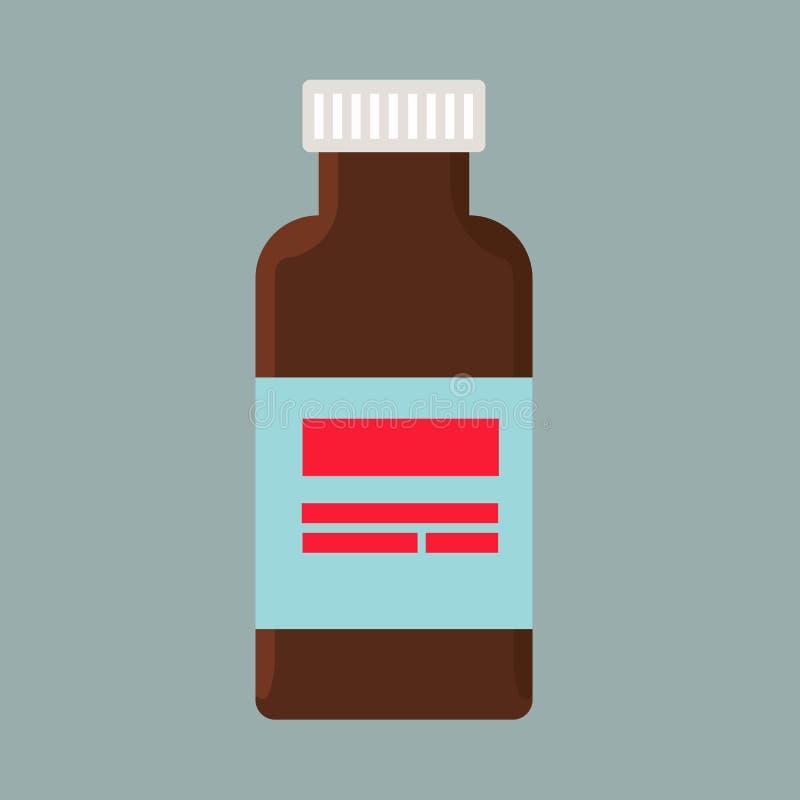Icona di vettore della dose di cura di malattia della bottiglia dell'iniezione Vaccino blu di immunit? sana antibiotica del medic illustrazione di stock