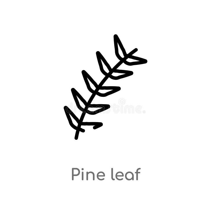 icona di vettore della foglia del pino del profilo linea semplice nera isolata illustrazione dell'elemento dal concetto della nat illustrazione di stock
