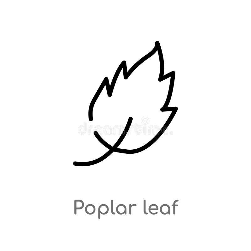 icona di vettore della foglia del pioppo del profilo linea semplice nera isolata illustrazione dell'elemento dal concetto della n illustrazione di stock