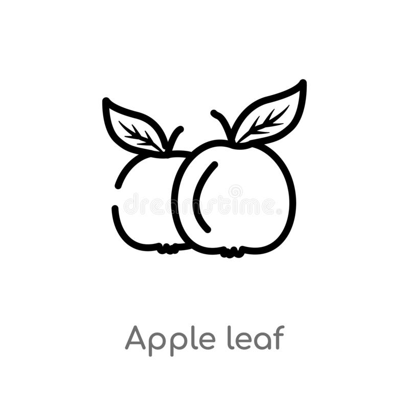 icona di vettore della foglia della mela del profilo linea semplice nera isolata illustrazione dell'elemento dal concetto dell'al royalty illustrazione gratis