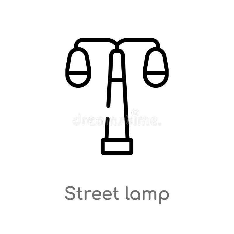 icona di vettore della lampada di via del profilo linea semplice nera isolata illustrazione dell'elemento dal concetto degli elem illustrazione di stock