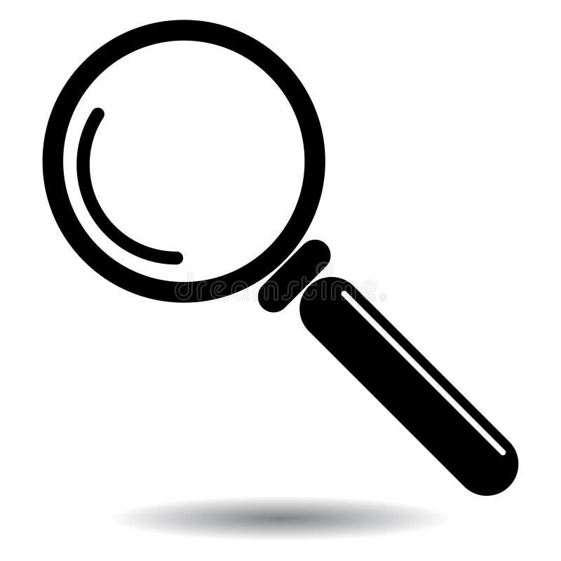 Icona di vettore della lente d'ingrandimento in bianco e nero illustrazione vettoriale
