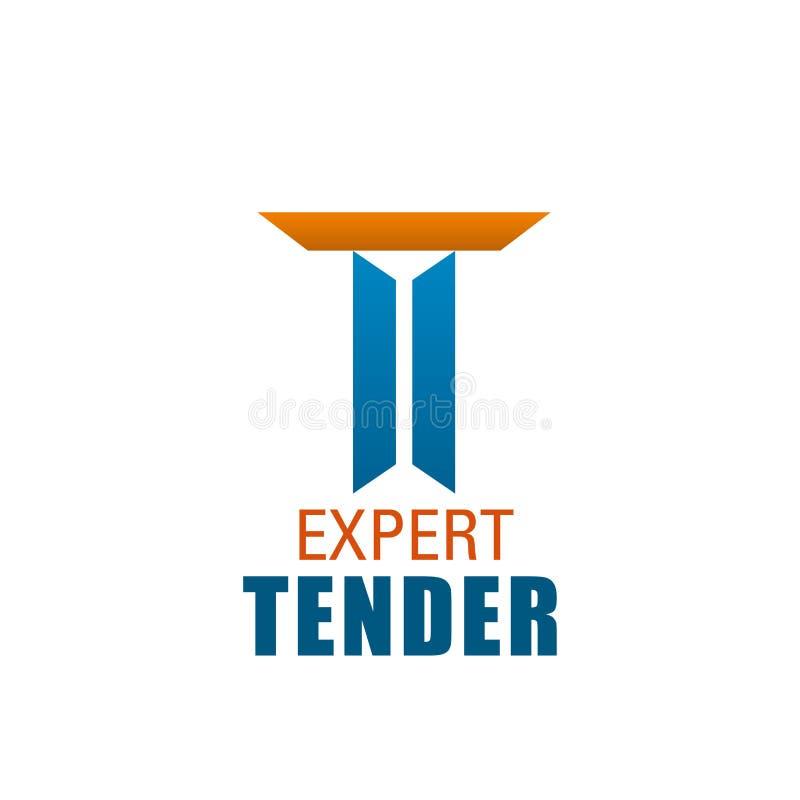 Icona di vettore della lettera di T per la società tenera esperta illustrazione vettoriale