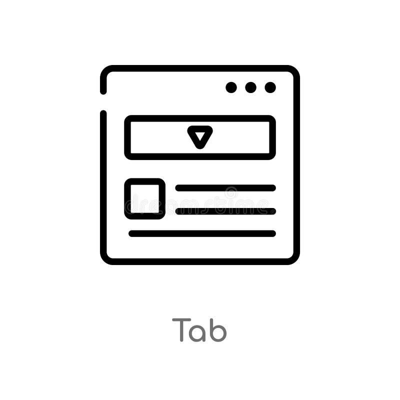icona di vettore della linguetta del profilo linea semplice nera isolata illustrazione dell'elemento dal concetto di web icona ed illustrazione di stock